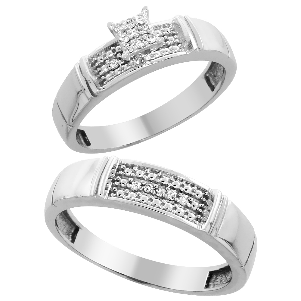 10k White Gold Diamond Engagement Rings Set for Men and Women 2-Piece 0.10 cttw Brilliant Cut, 4.5mm & 5mm wide