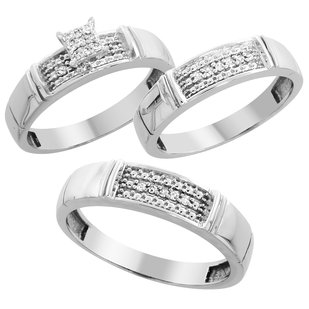 10k White Gold Diamond Trio Wedding Ring Set 3-piece His & Hers 5 & 4.5 mm, 0.13 cttw, sizes 5  14