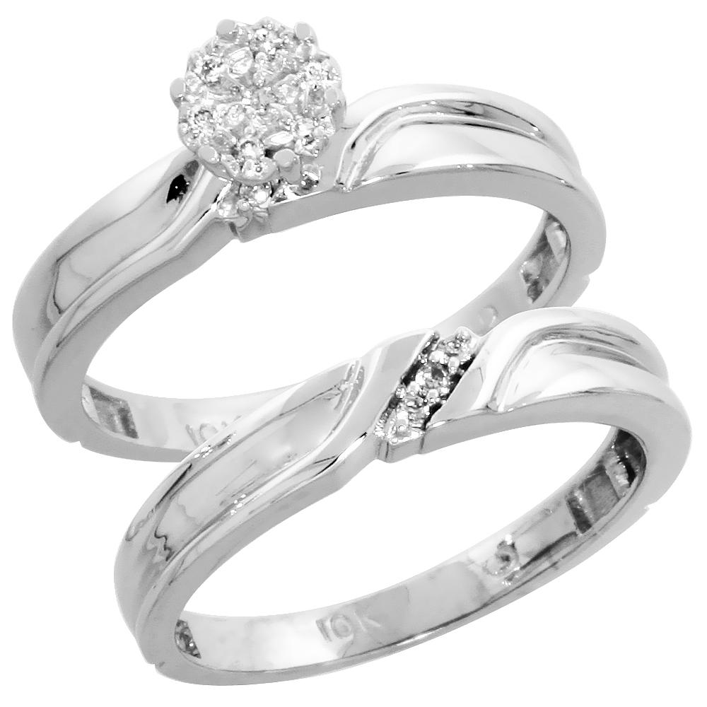 10k White Gold Diamond Engagement Ring Set 2-Piece 0.07 cttw Brilliant Cut, 1/8 inch 3.5mm wide