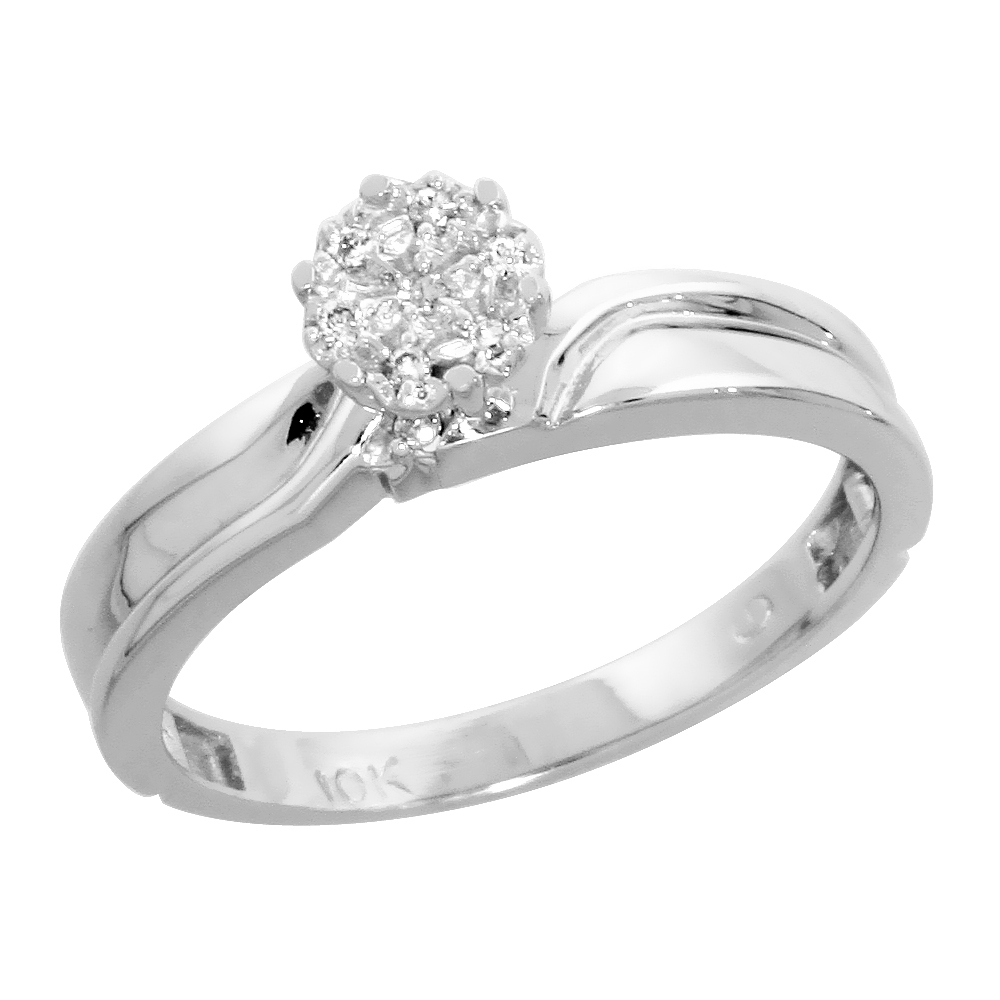 10k White Gold Diamond Engagement Ring 0.05 cttw Brilliant Cut, 1/8 inch 3.5mm wide