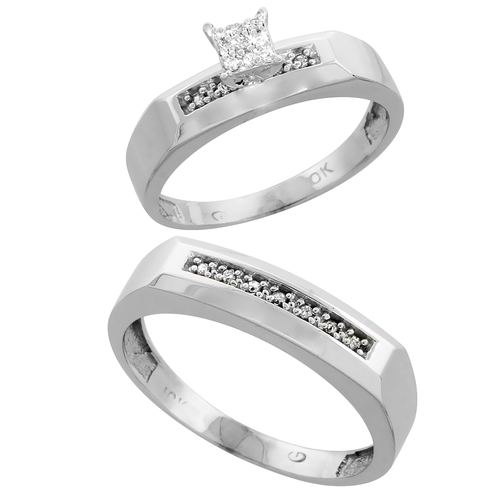 10k White Gold Diamond Engagement Rings Set for Men and Women 2-Piece 0.11 cttw Brilliant Cut, 4.5mm & 5mm wide