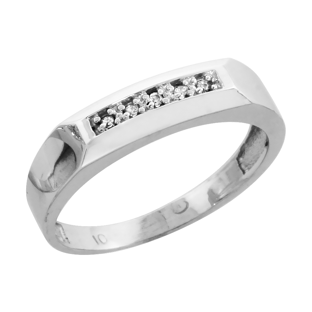 10k White Gold Ladies Diamond Wedding Band Ring 0.03 cttw Brilliant Cut, 3/16 inch 4.5mm wide