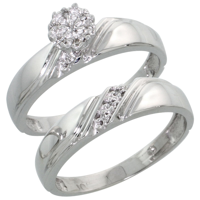 10k White Gold Diamond Engagement Ring Set 2-Piece 0.07 cttw Brilliant Cut, 3/16 inch 4.5mm wide