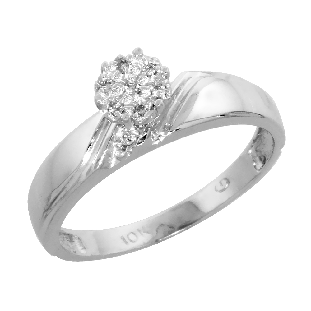 10k White Gold Diamond Engagement Ring 0.05 cttw Brilliant Cut, 3/16 inch 4.5mm wide