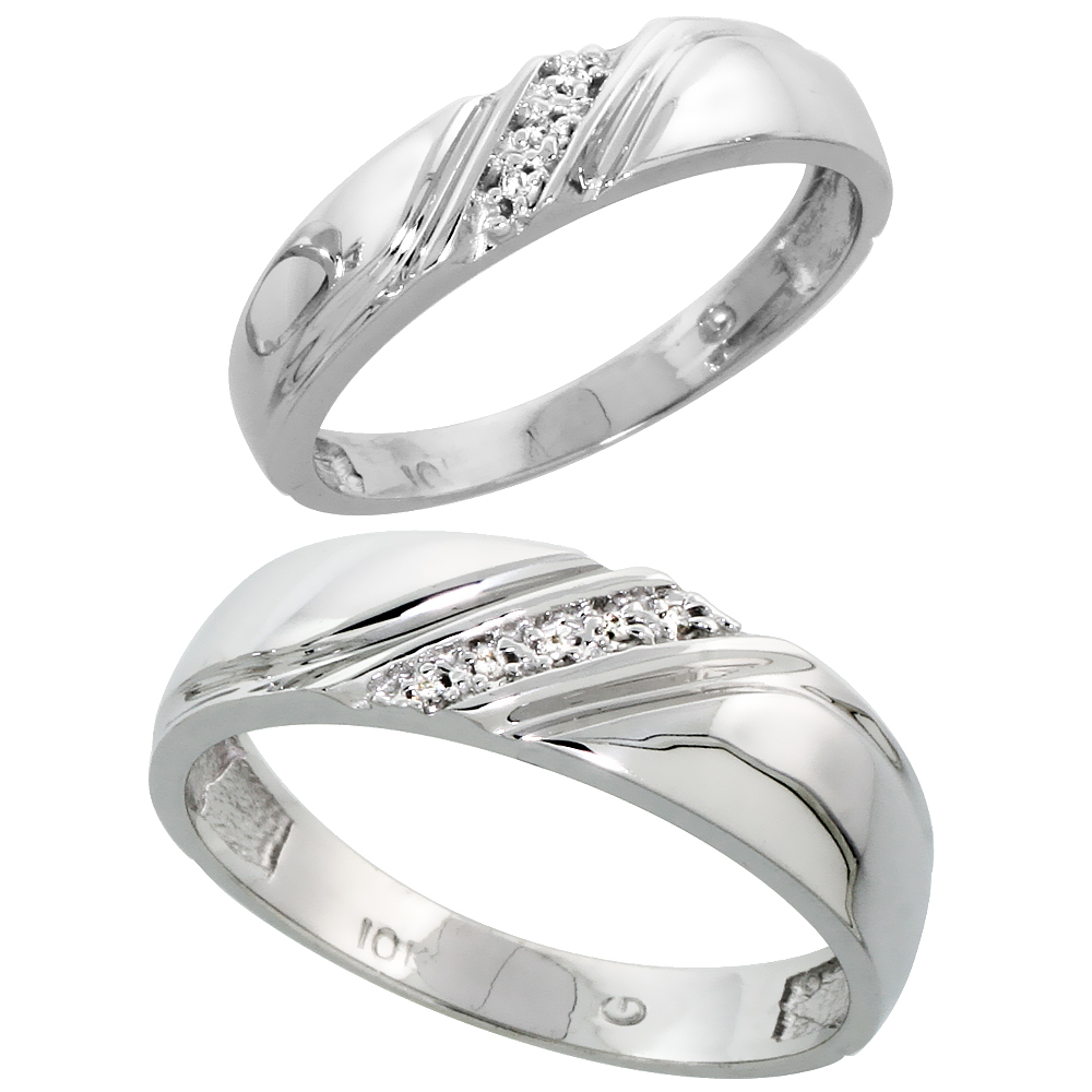 10k White Gold Diamond Wedding Rings Set for him 6 mm and her 4.5 mm 2-Piece 0.05 cttw Brilliant Cut, ladies sizes 5 � 10, mens
