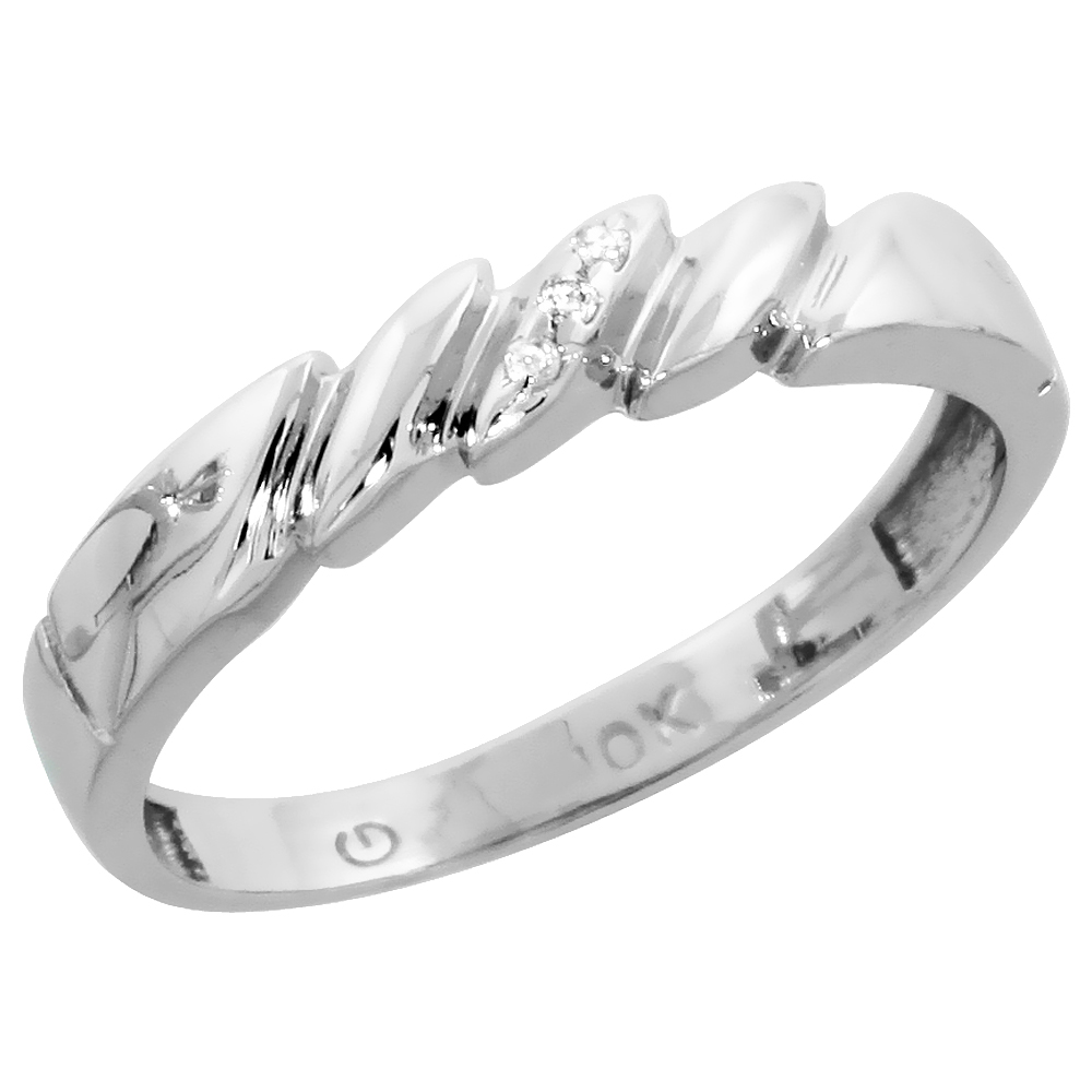 10k White Gold Ladies Diamond Wedding Band Ring 0.02 cttw Brilliant Cut, 5/32 inch 4mm wide