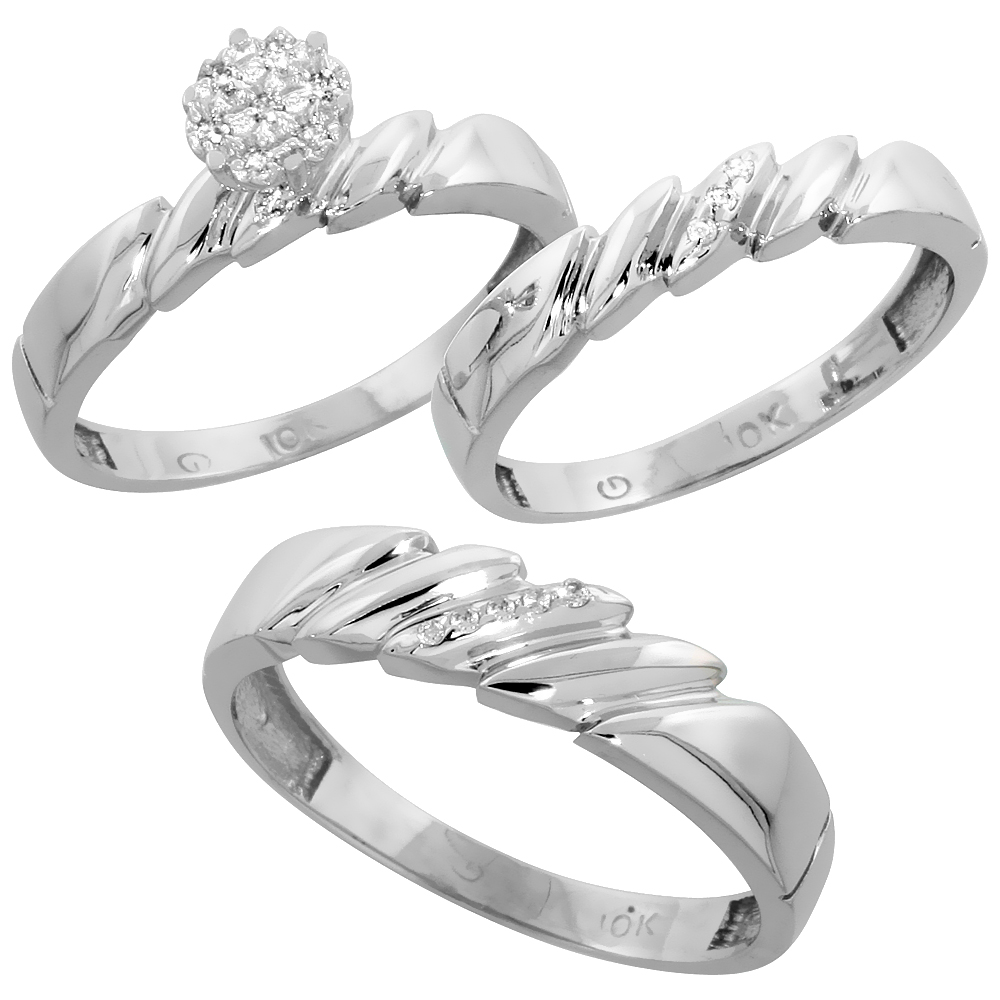 10k White Gold Diamond Trio Wedding Ring Set 3-piece His & Hers 5 & 4 mm 0.10 cttw, sizes 5  14