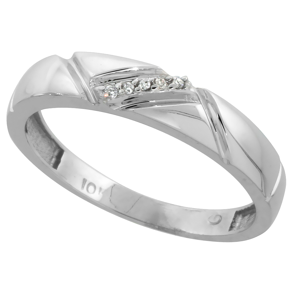 10k White Gold Mens Diamond Wedding Band Ring 0.03 cttw Brilliant Cut, 3/16 inch 4.5mm wide
