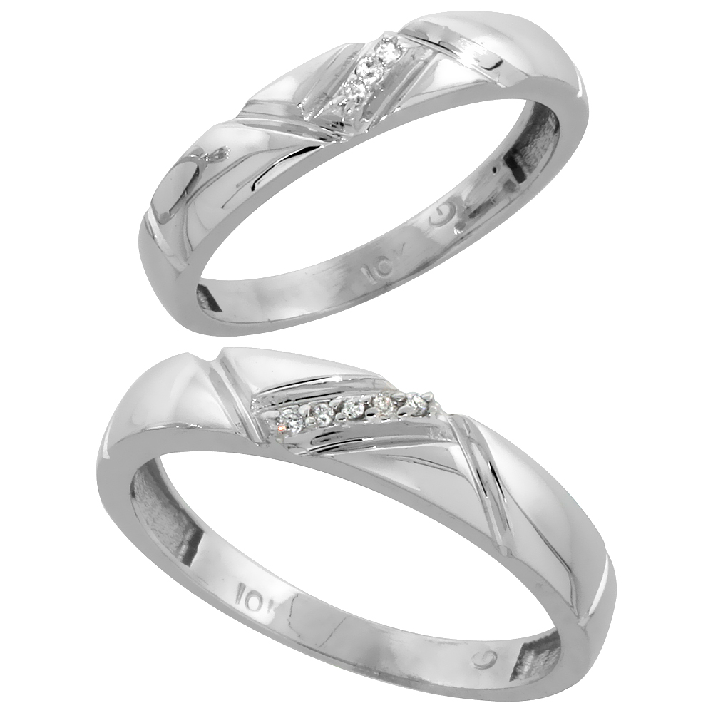 10k White Gold Diamond Wedding Rings Set for him 4.5 mm and her 4 mm 2-Piece 0.05 cttw Brilliant Cut, ladies sizes 5 � 10, mens