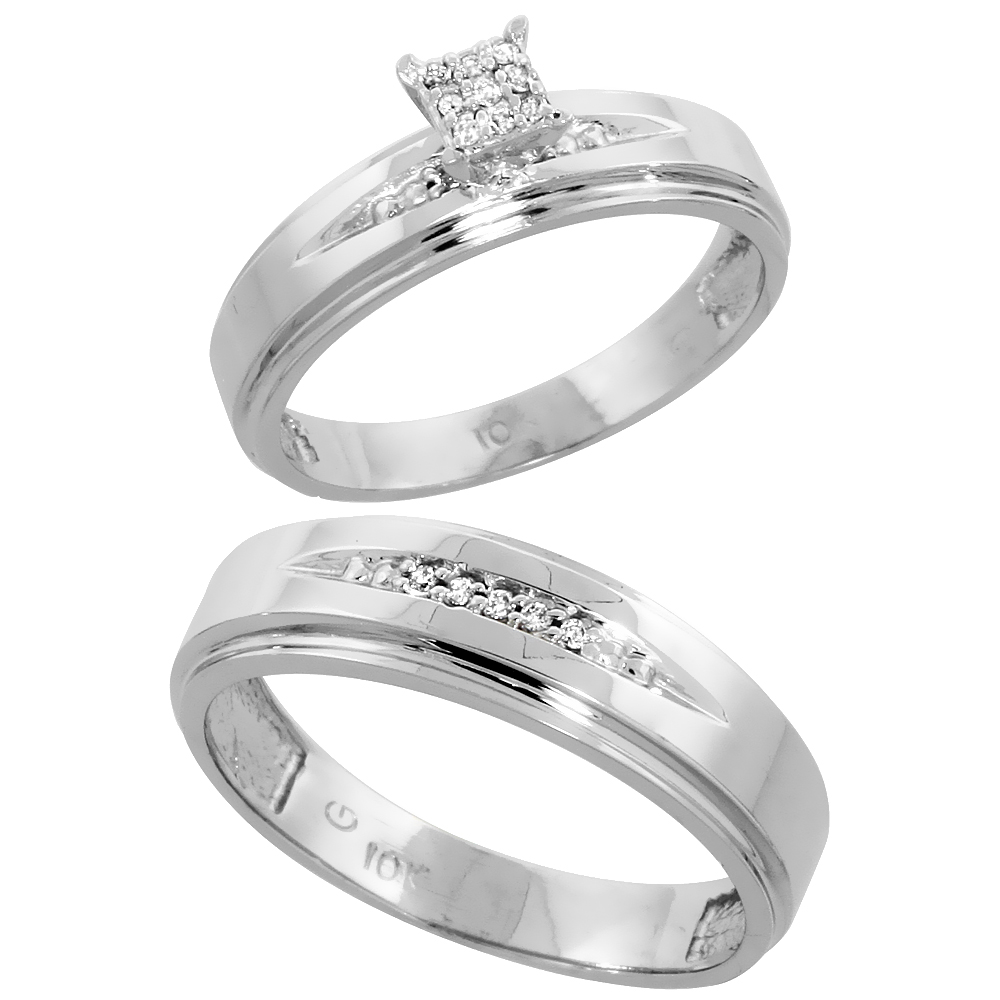 10k White Gold Diamond Engagement Rings Set for Men and Women 2-Piece 0.09 cttw Brilliant Cut, 5mm & 6mm wide