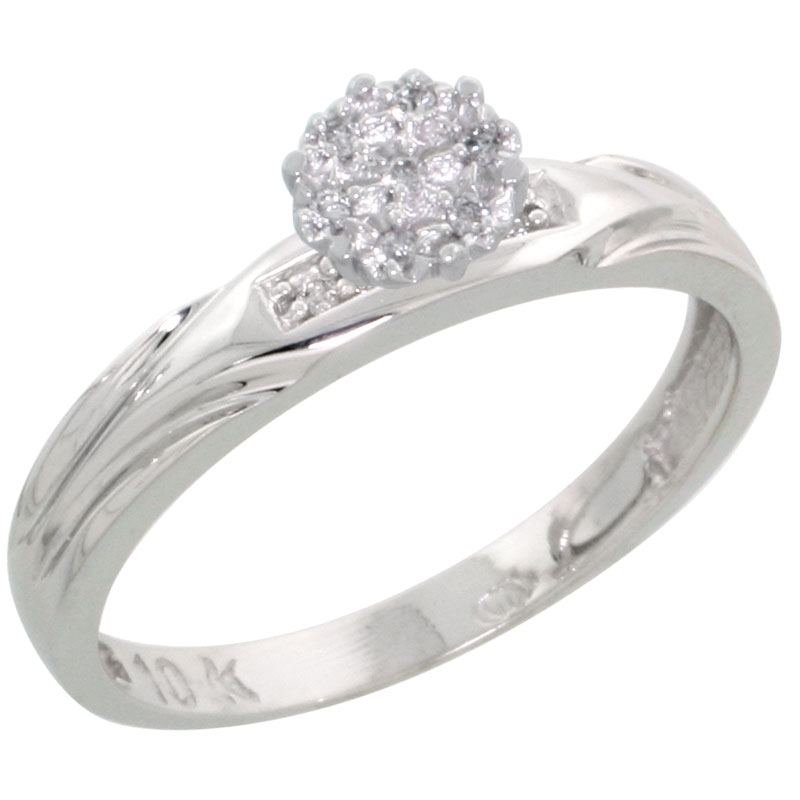10k White Gold Diamond Engagement Ring 0.06 cttw Brilliant Cut, 1/8in. 3.5mm wide