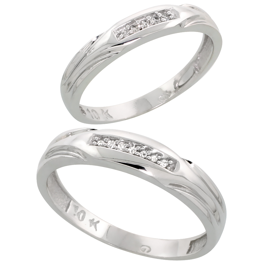 10k White Gold Diamond Wedding Rings Set for him 4.5 mm and her 3.5 mm 2-Piece 0.07 cttw Brilliant Cut, ladies sizes 5 � 10, men
