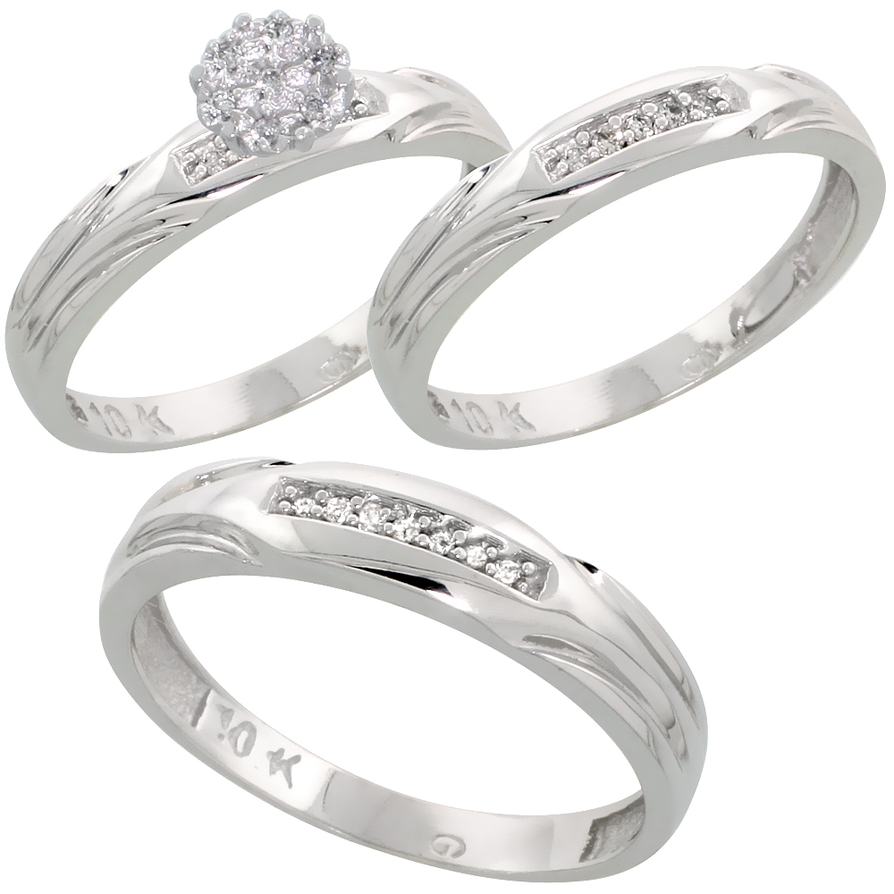 10k White Gold Diamond Trio Wedding Ring Set 3-piece His & Hers 4.5 & 3.5 mm 0.13 cttw, sizes 5  14