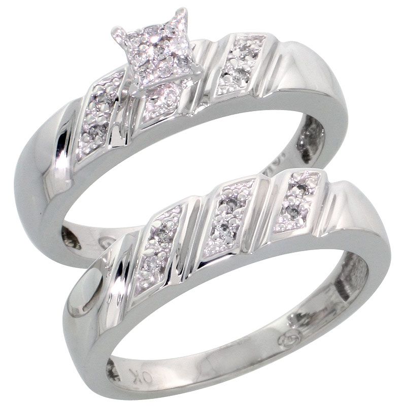 10k White Gold Diamond Engagement Ring Set 2-Piece 0.10 cttw Brilliant Cut, 3/16 inch 5mm wide