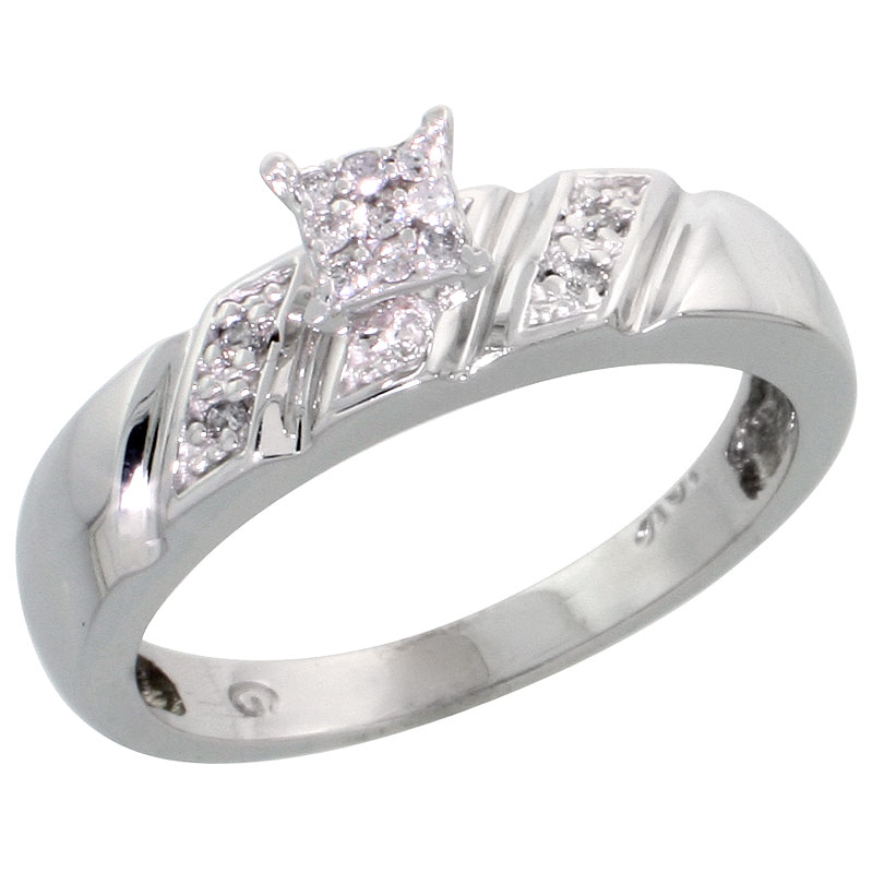 10k White Gold Diamond Engagement Ring 0.07 cttw Brilliant Cut, 3/16 inch 5mm wide