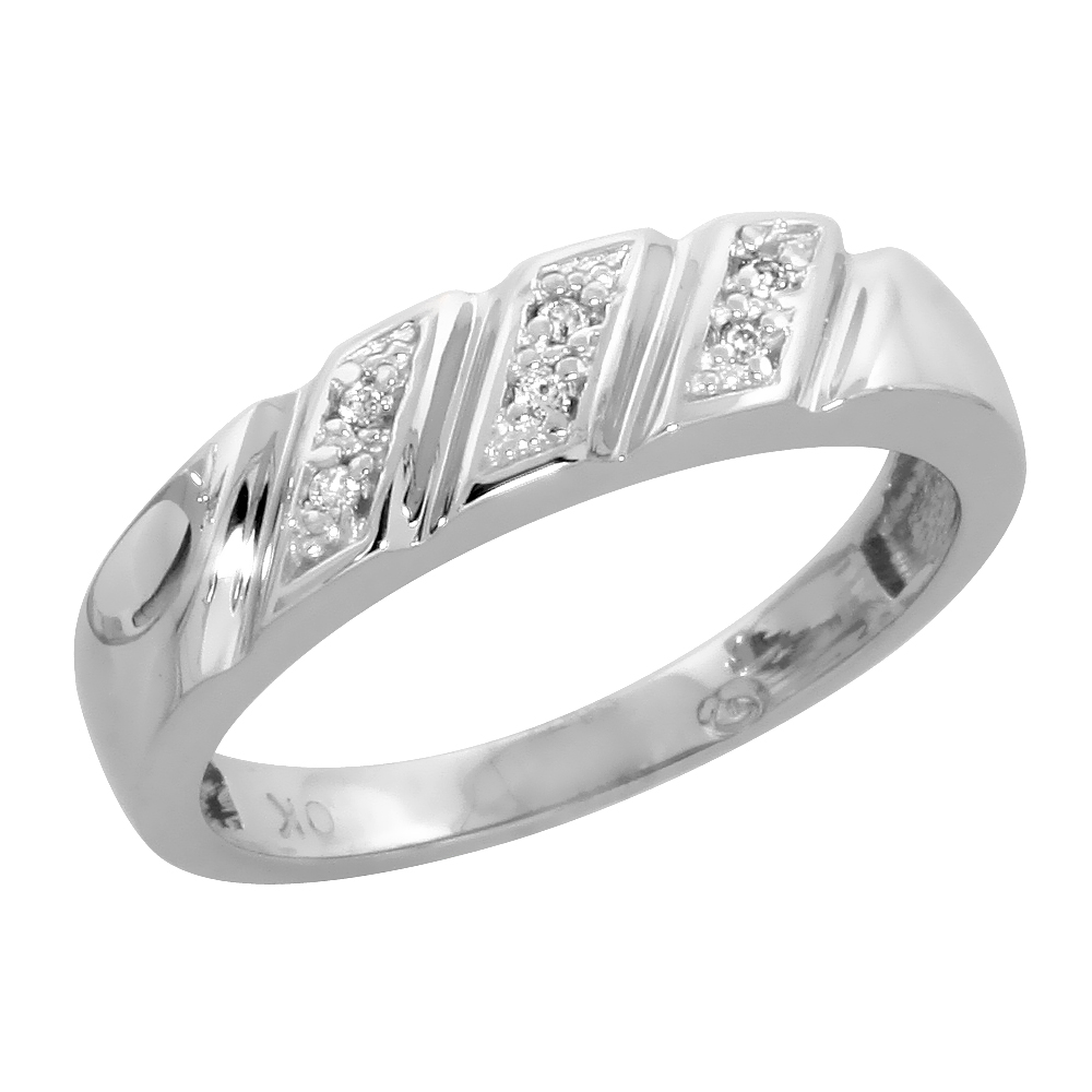 10k White Gold Ladies Diamond Wedding Band Ring 0.03 cttw Brilliant Cut, 3/16 inch 5mm wide