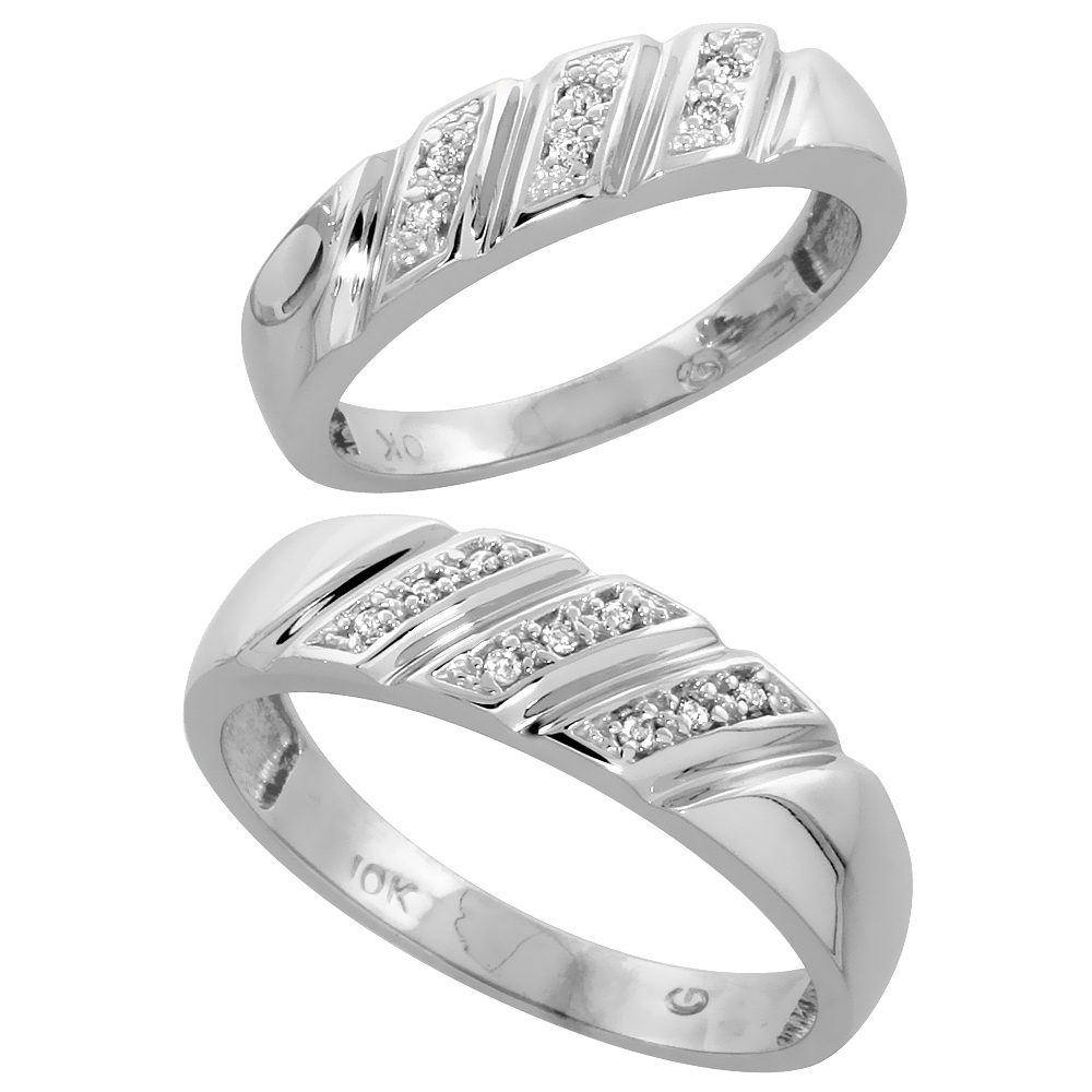 10k White Gold Diamond Wedding Rings Set for him 6 mm and her 5 mm 2-Piece 0.08 cttw Brilliant Cut, ladies sizes 5 � 10, mens si
