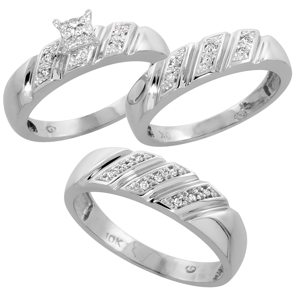 10k White Gold Diamond Trio Wedding Ring Set 3-piece His & Hers 6 & 5 mm 0.15 cttw, sizes 5  14