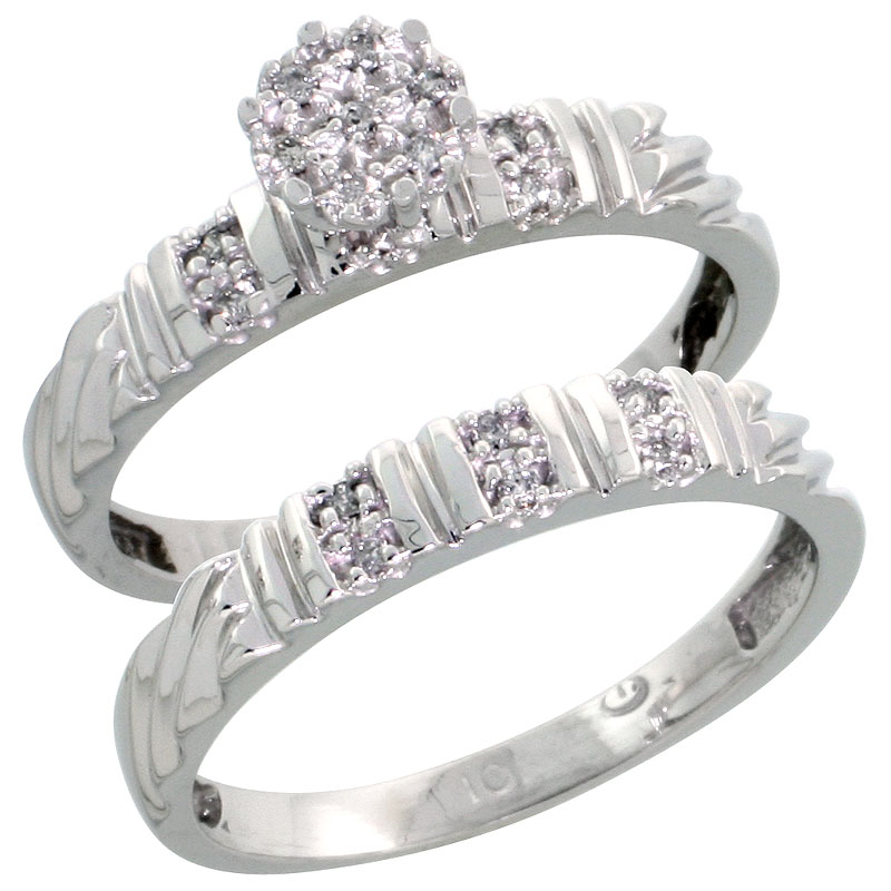 10k White Gold Diamond Engagement Ring Set 2-Piece 0.09 cttw Brilliant Cut, 1/8 inch 3.5mm wide