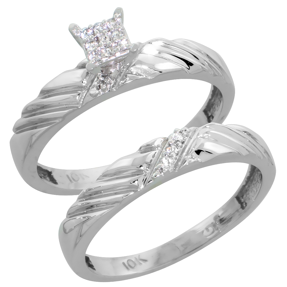 10k White Gold Diamond Engagement Ring Set 2-Piece 0.08 cttw Brilliant Cut, 1/8 inch 3.5mm wide