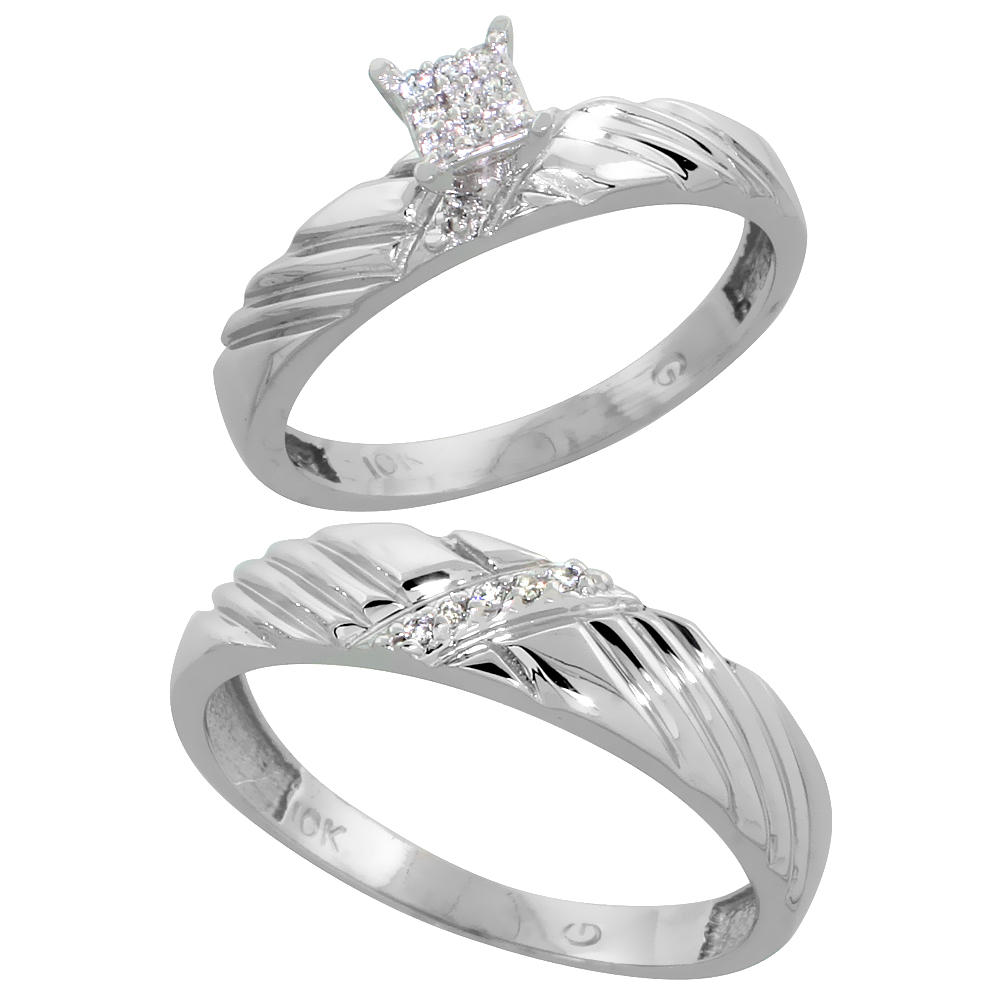 10k White Gold Diamond Engagement Rings Set for Men and Women 2-Piece 0.09 cttw Brilliant Cut, 3.5mm & 5mm wide