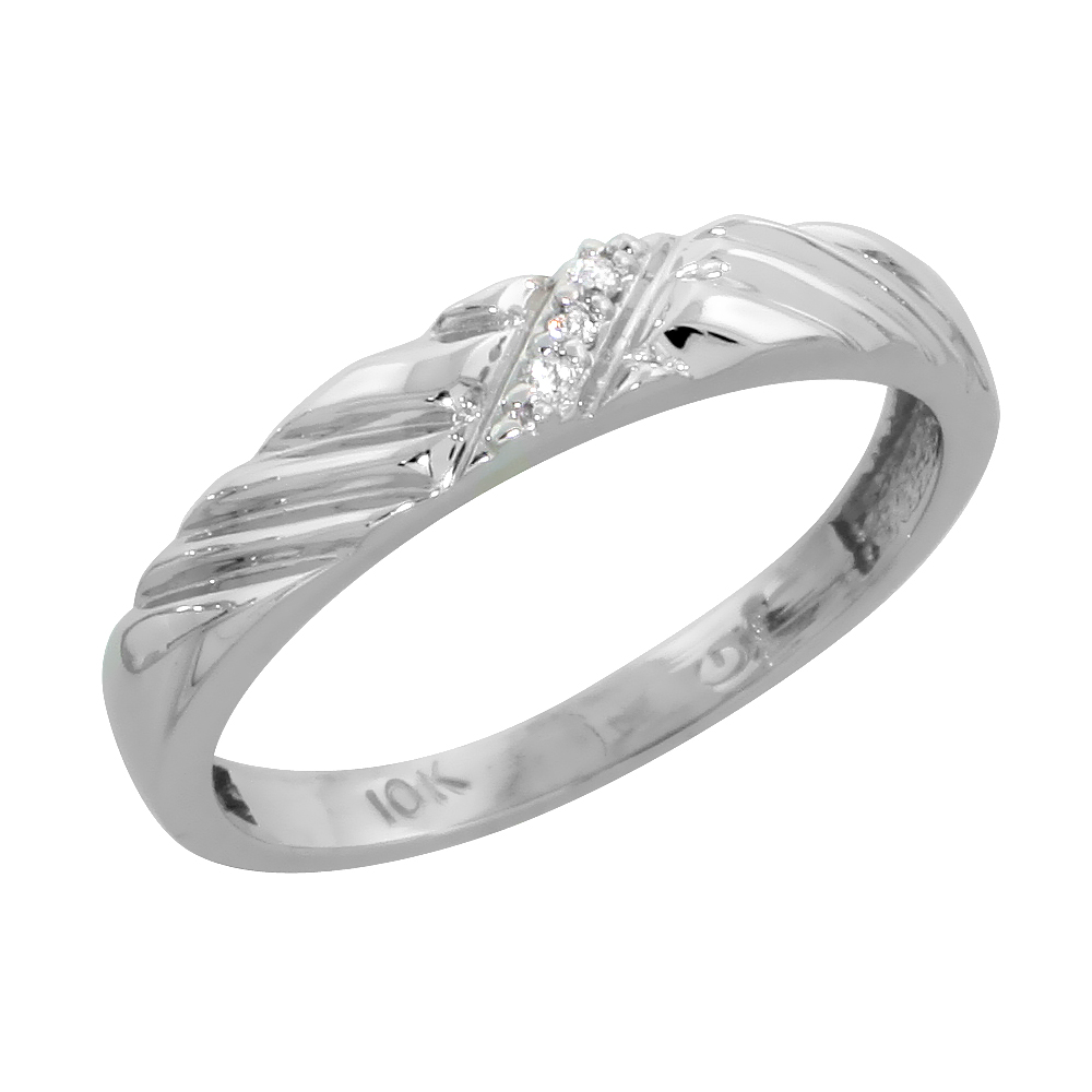 10k White Gold Ladies Diamond Wedding Band Ring 0.02 cttw Brilliant Cut, 1/8 inch 3.5mm wide