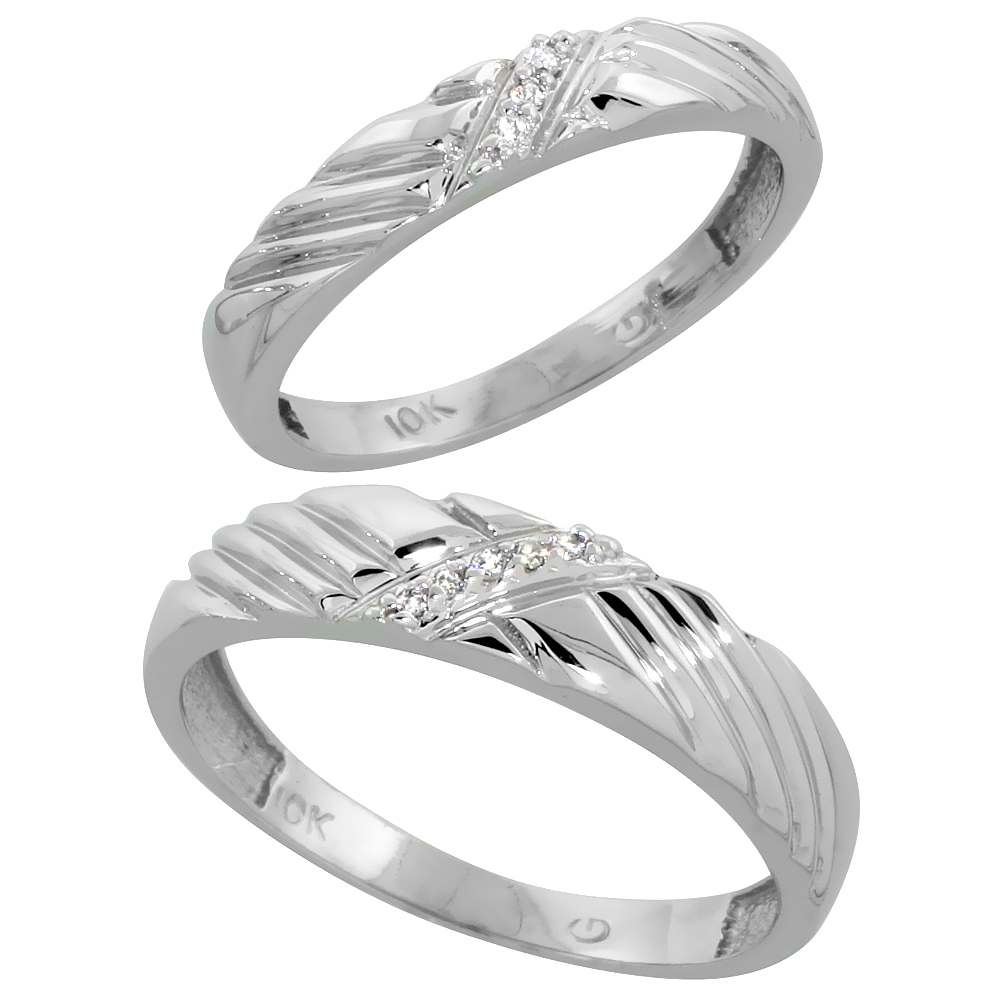 10k White Gold Diamond Wedding Rings Set for him 5 mm and her 3.5 mm 2-Piece 0.05 cttw Brilliant Cut, ladies sizes 5 � 10, mens