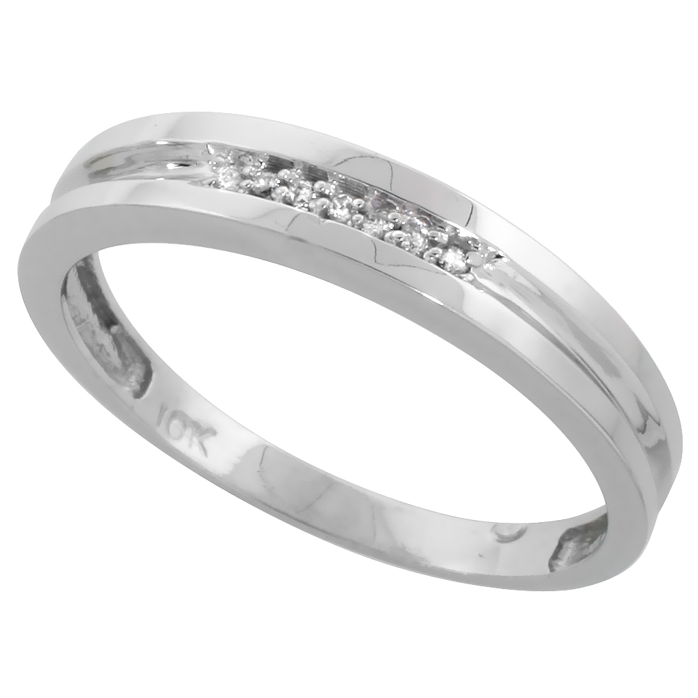 10k White Gold Mens Diamond Wedding Band Ring 0.04 cttw Brilliant Cut, 5/32 inch 4mm wide