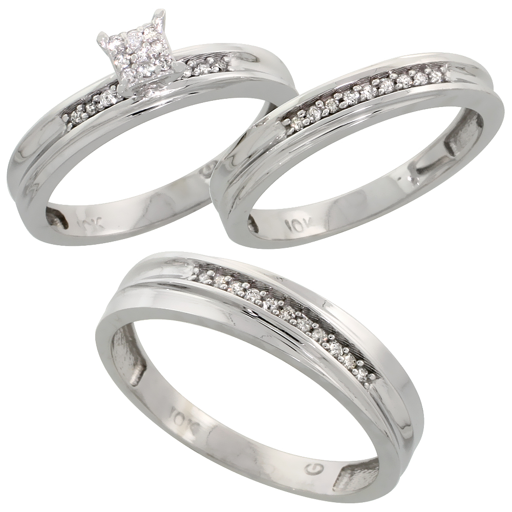 10k White Gold Diamond Trio Wedding Ring Set 3-piece His & Hers 5 & 3.5 mm 0.13 cttw, sizes 5  14