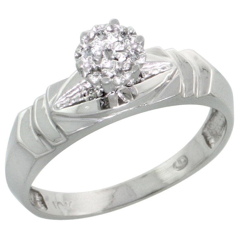10k White Gold Diamond Engagement Ring 0.04 cttw Brilliant Cut, 3/16 inch 5mm wide