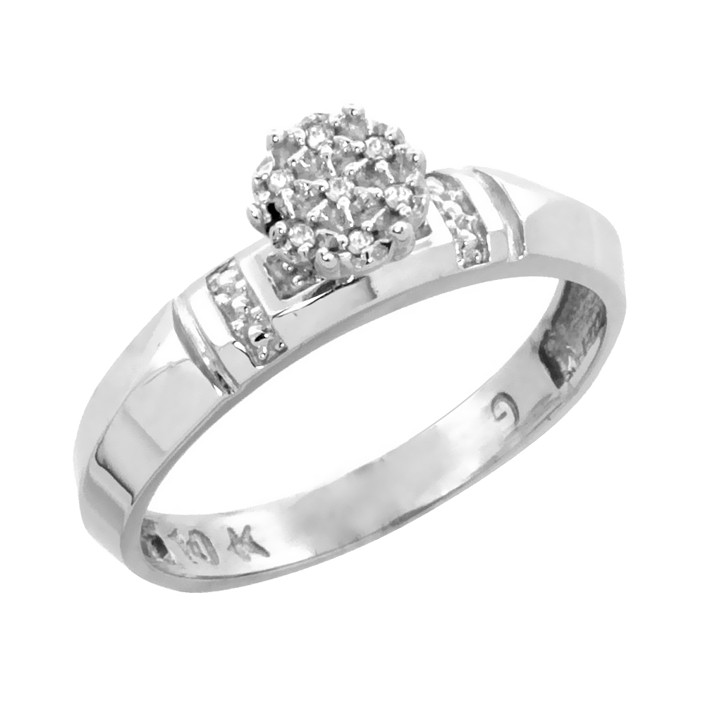 10k White Gold Diamond Engagement Ring 0.05 cttw Brilliant Cut, 5/32 inch 4mm wide
