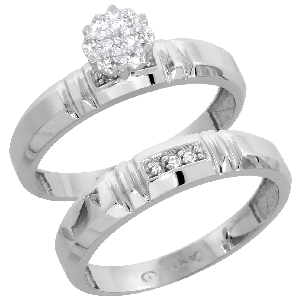 10k White Gold Diamond Engagement Ring Set 2-Piece 0.07 cttw Brilliant Cut, 5/32 inch 4mm wide