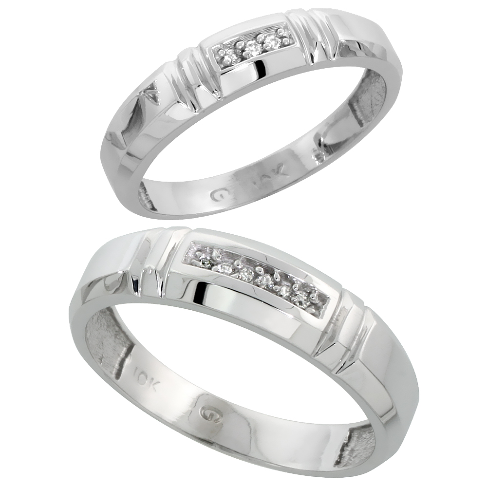 10k White Gold Diamond Wedding Rings Set for him 5.5 mm and her 4 mm 2-Piece 0.05 cttw Brilliant Cut, ladies sizes 5 � 10, mens