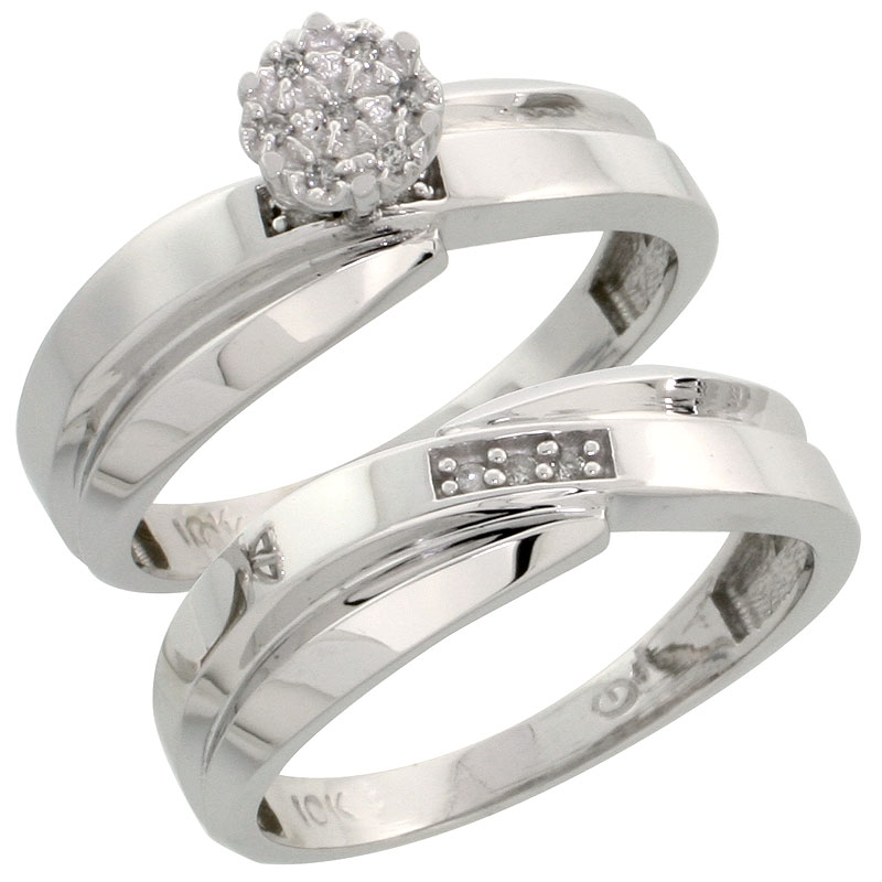 10k White Gold Diamond Engagement Ring Set 2-Piece 0.07 cttw Brilliant Cut, 1/4 inch 6mm wide