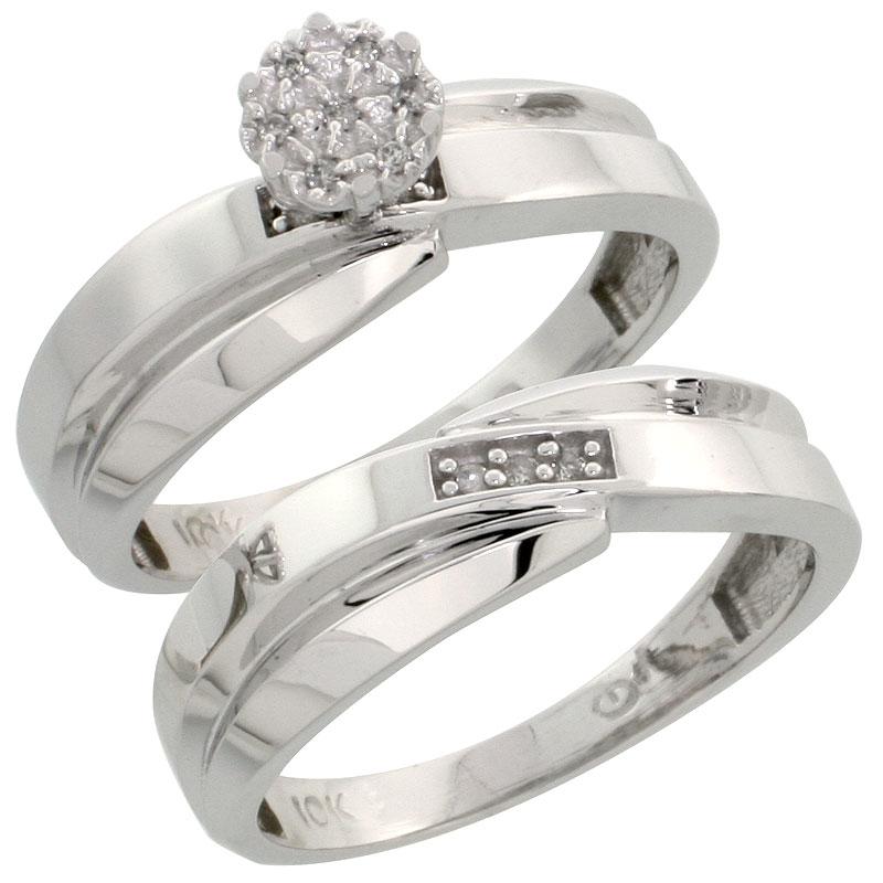 10k White Gold Diamond Engagement Ring Set 2-Piece 0.07 cttw Brilliant Cut, 1/4 inch 6mm wide