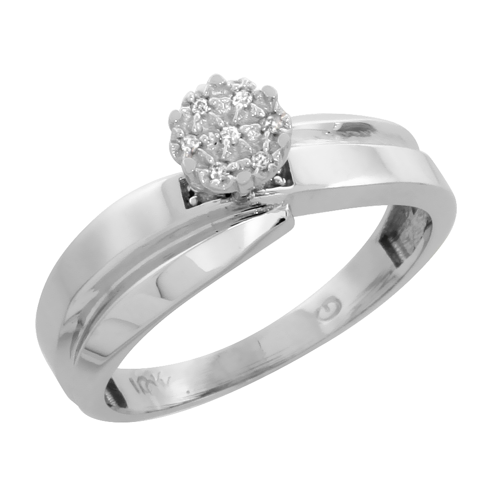 10k White Gold Diamond Engagement Ring 0.05 cttw Brilliant Cut, 1/4 inch 6mm wide