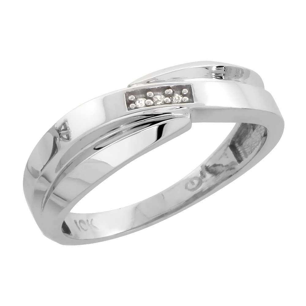 10k White Gold Ladies Diamond Wedding Band Ring 0.02 cttw Brilliant Cut, 1/4 inch 6mm wide