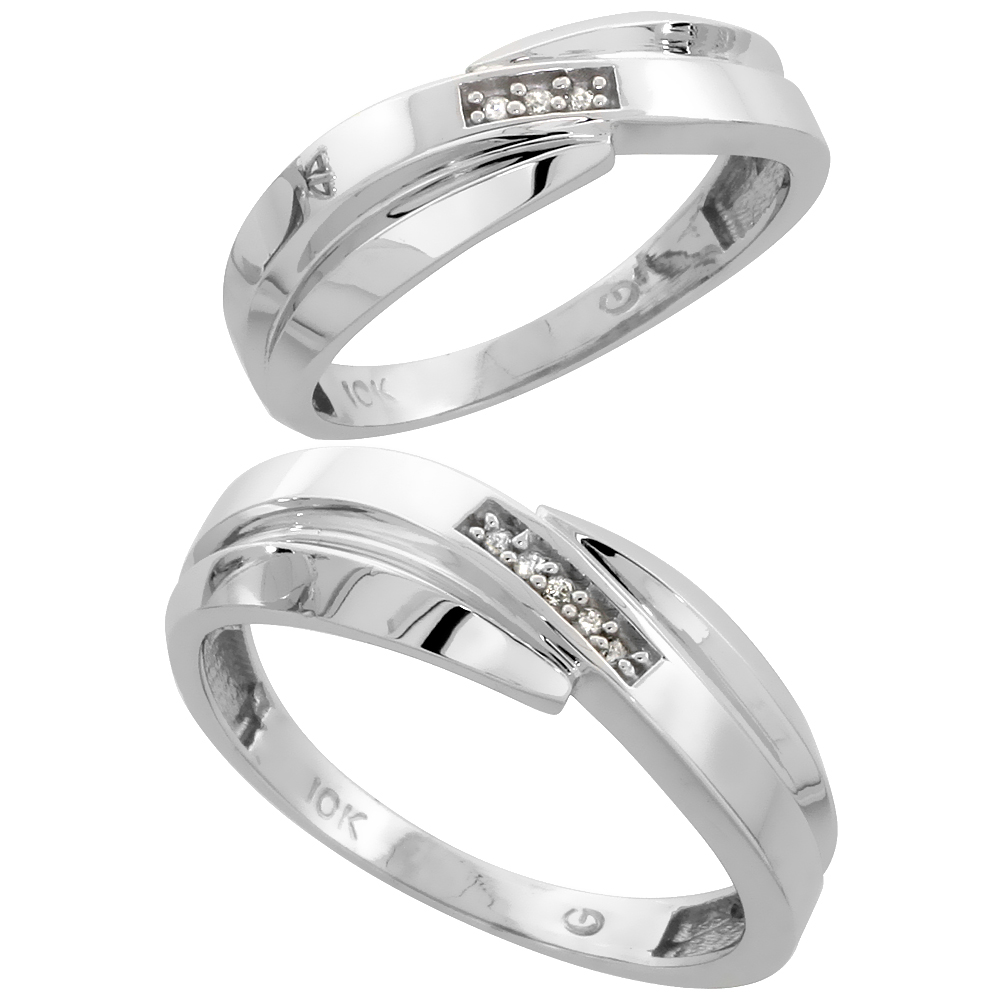 10k White Gold Diamond Wedding Rings Set for him 7 mm and her 6 mm 2-Piece 0.05 cttw Brilliant Cut, ladies sizes 5 � 10, mens si