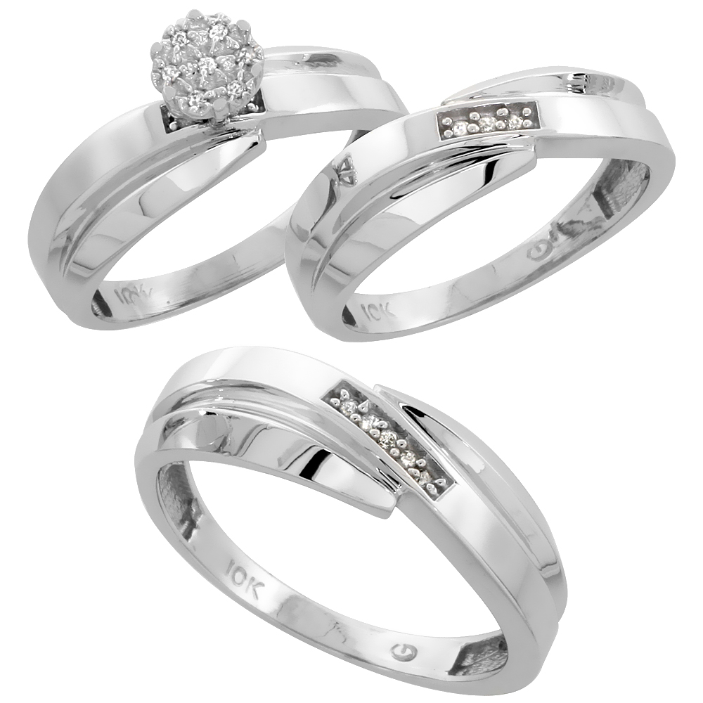 10k White Gold Diamond Trio Wedding Ring Set 3-piece His & Hers 7 & 6 mm 0.10 cttw, sizes 5  14
