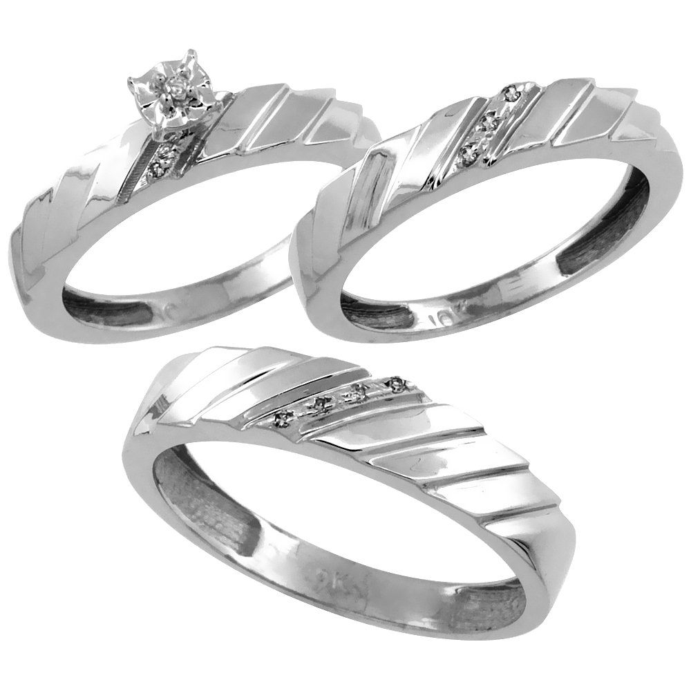 14k White Gold 3-Pc. Trio His (5mm) & Hers (4mm) Diamond Wedding Ring Band Set, w/ 0.075 Carat Brilliant Cut Diamonds (Ladies' Sizes 5-10; Men's Sizes 8 to 14)