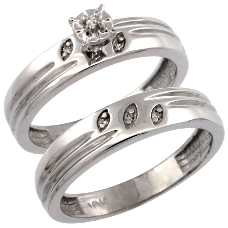 14k White Gold 2-Pc Diamond Engagement Ring Set w/ 0.049 Carat Brilliant Cut Diamonds, 5/32 in. (4.5mm) wide