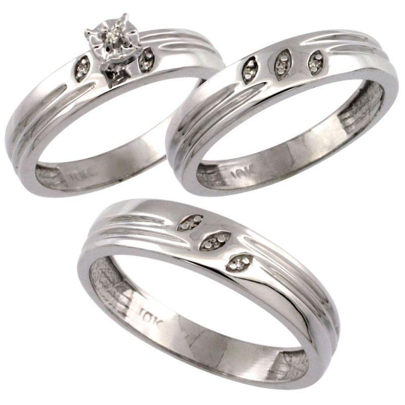 14k White Gold 3-Pc. Trio His (5mm) & Hers (4.5mm) Diamond Wedding Ring Band Set, w/ 0.075 Carat Brilliant Cut Diamonds (Ladies' Sizes 5-10; Men's Sizes 8 to 14)