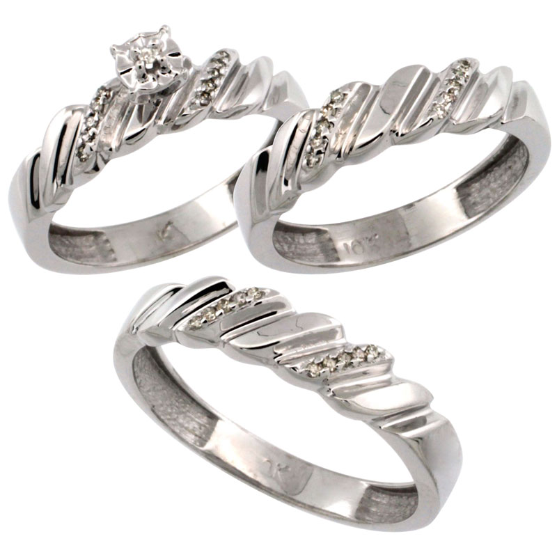 14k White Gold 3-Pc. Trio His (5mm) & Hers (5mm) Diamond Wedding Ring Band Set, w/ 0.20 Carat Brilliant Cut Diamonds (Ladies' Sizes 5-10; Men's Sizes 8 to 14)