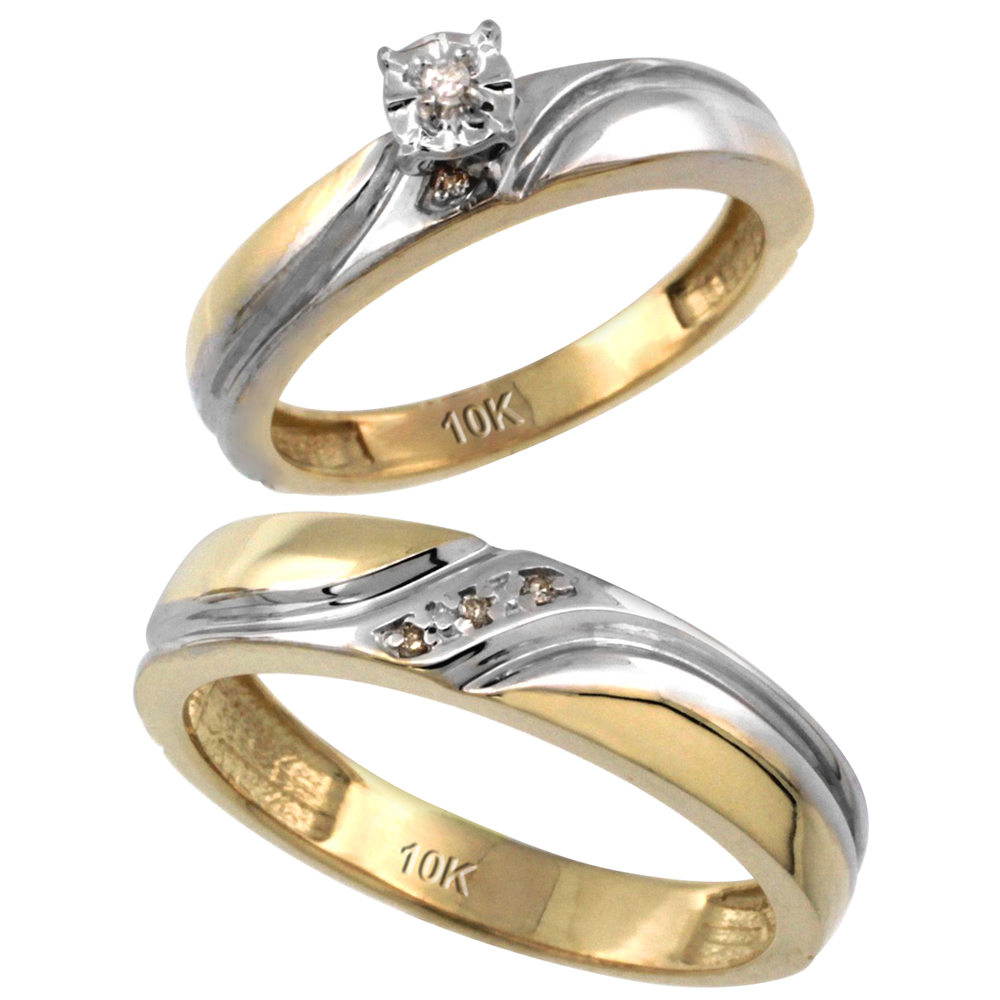 14k Gold 2 Pc Diamond Ring Set 4mm Engagement 5mm Man S Wedding