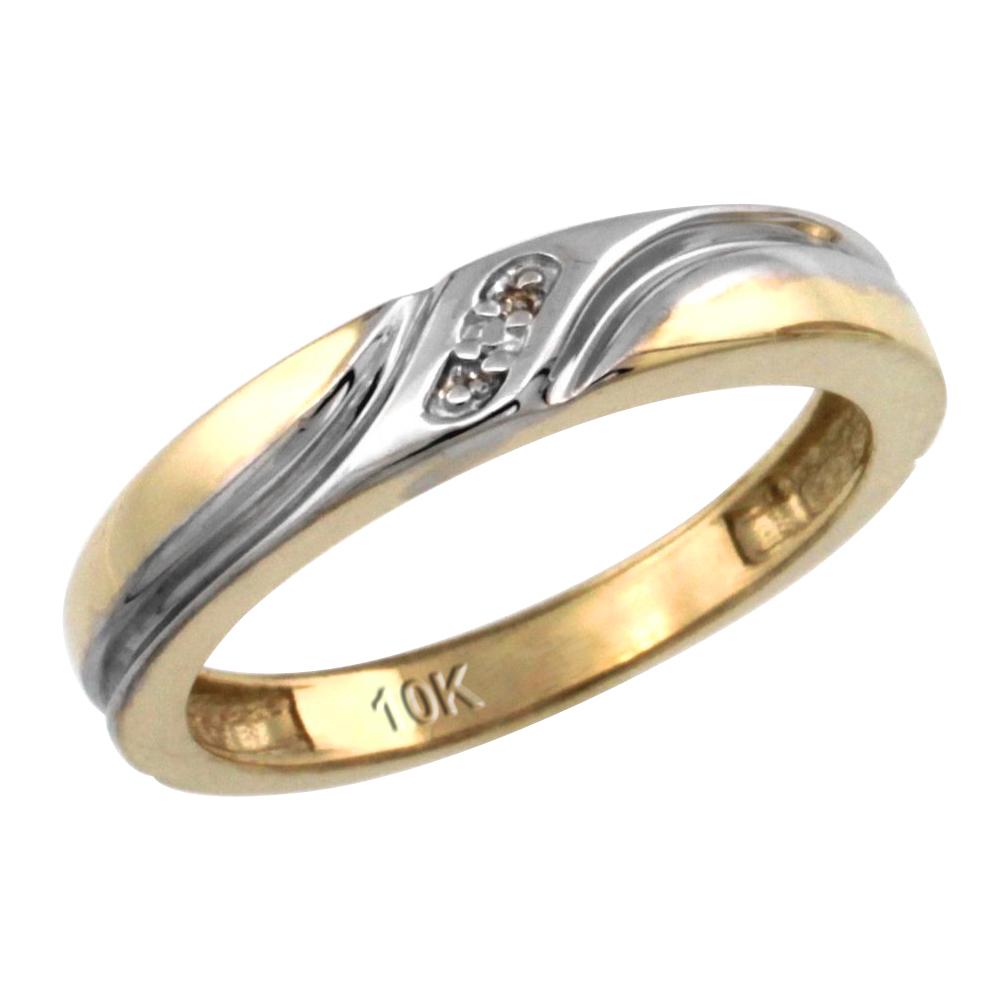 14k Gold Ladies' Diamond Wedding Ring Band, w/ 0.013 Carat Brilliant Cut Diamonds, 5/32 in. (4mm) wide
