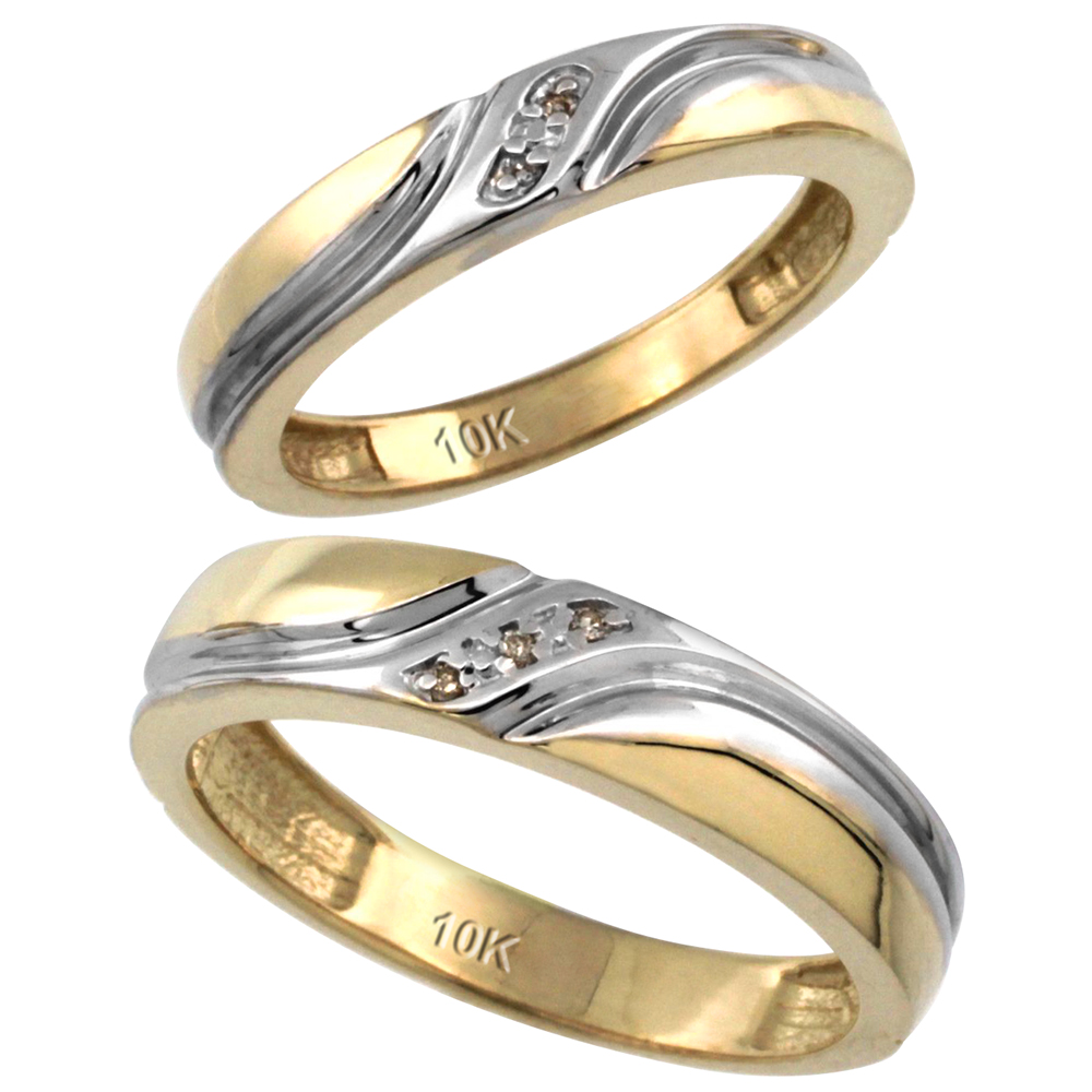 14k Gold 2-Pc His (5mm) & Hers (4mm) Diamond Wedding Ring Band Set w/ 0.032 Carat Brilliant Cut Diamonds (Ladies' Sizes 5 to 10; Men's Sizes 8 to 14)