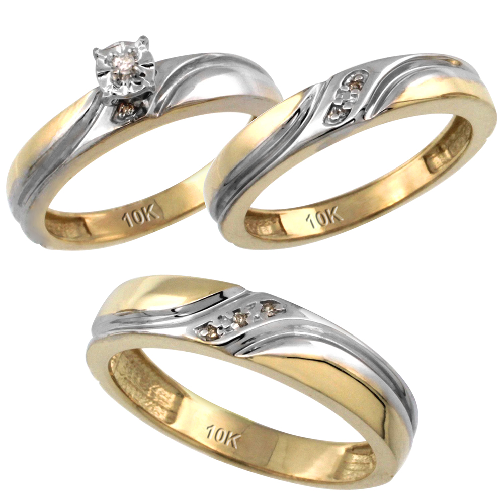 14k Gold 3-Pc. Trio His (5mm) & Hers (4mm) Diamond Wedding Ring Band Set, w/ 0.062 Carat Brilliant Cut Diamonds (Ladies' Sizes 5-10; Men's Sizes 8 to 14)