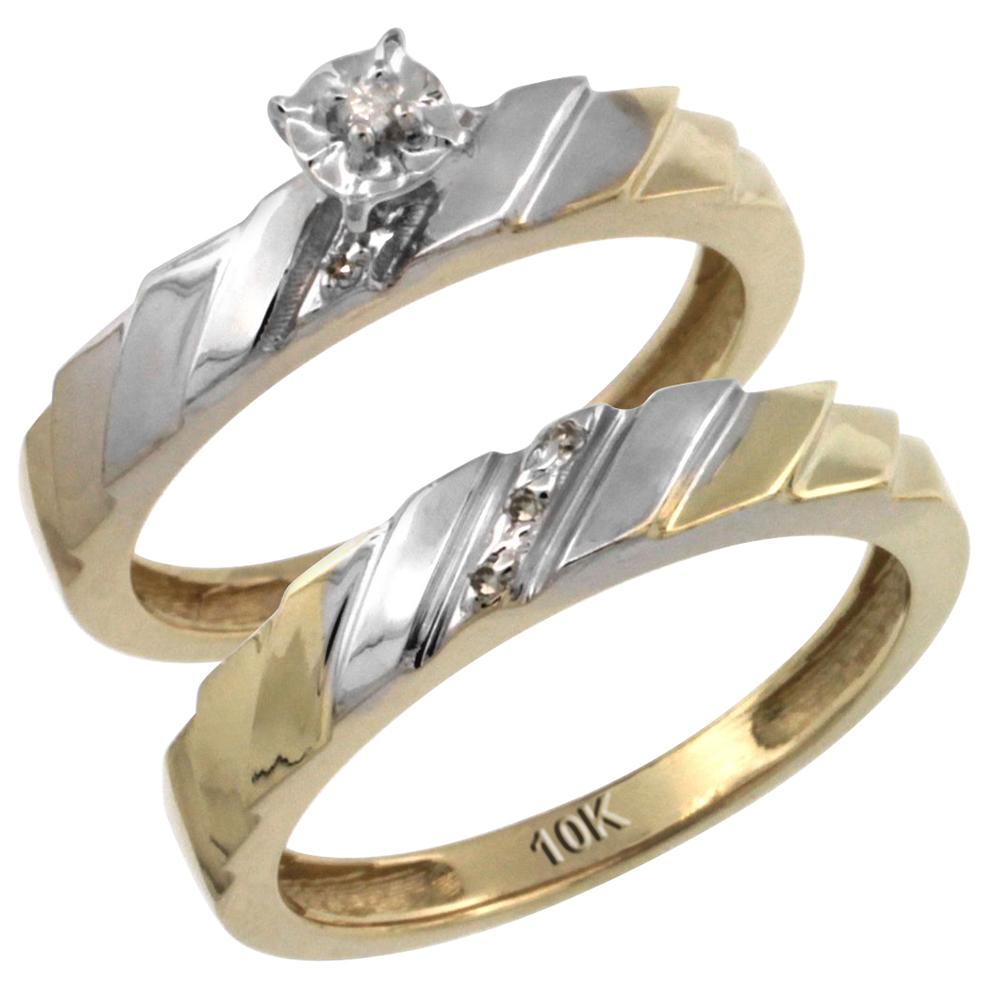 14k Gold 2-Pc Diamond Engagement Ring Set w/ 0.049 Carat Brilliant Cut Diamonds, 5/32 in. (4mm) wide