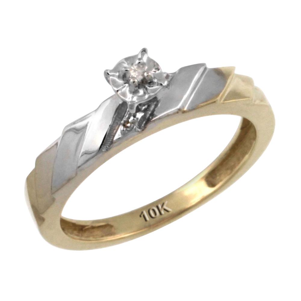14k Gold Diamond Engagement Ring w/ 0.03 Carat Brilliant Cut Diamonds, 5/32 in. (4mm) wide