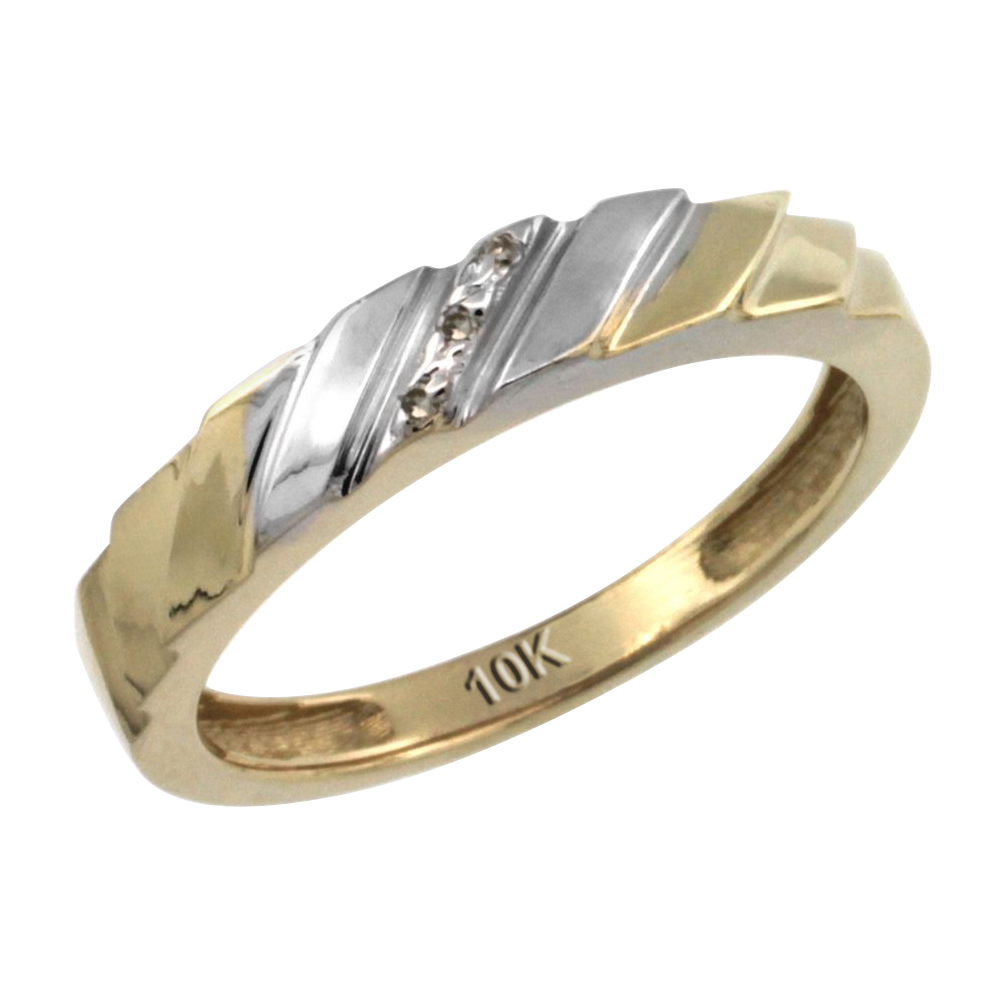 14k Gold Ladies' Diamond Wedding Ring Band, w/ 0.019 Carat Brilliant Cut Diamonds, 5/32 in. (4mm) wide